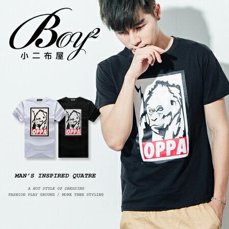 ☆BOY-2☆【ND5462】短袖T恤休閒簡約拼接色塊猩猩猴子OPPA壓框印花短T