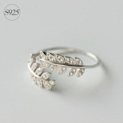 925純銀戒指鑲鑽開口戒~優雅閃耀葉子 情人節生日 女飾品73dt314~ ~~米蘭 ~