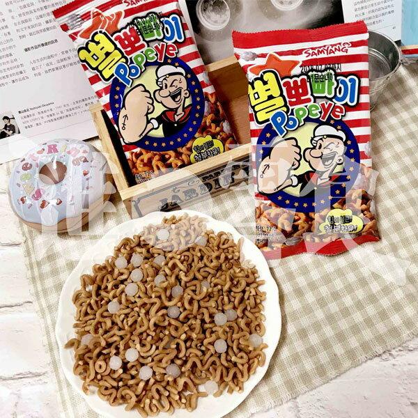 韓國三養Samyang大力水手點心麵單包拉麵做的點心麵.還有糖果附在裡面!這好玩的新口感.最近韓國正在流行的點心麵!包裝是方便的小包袋,隨手一次一包【特價】§異國精品§