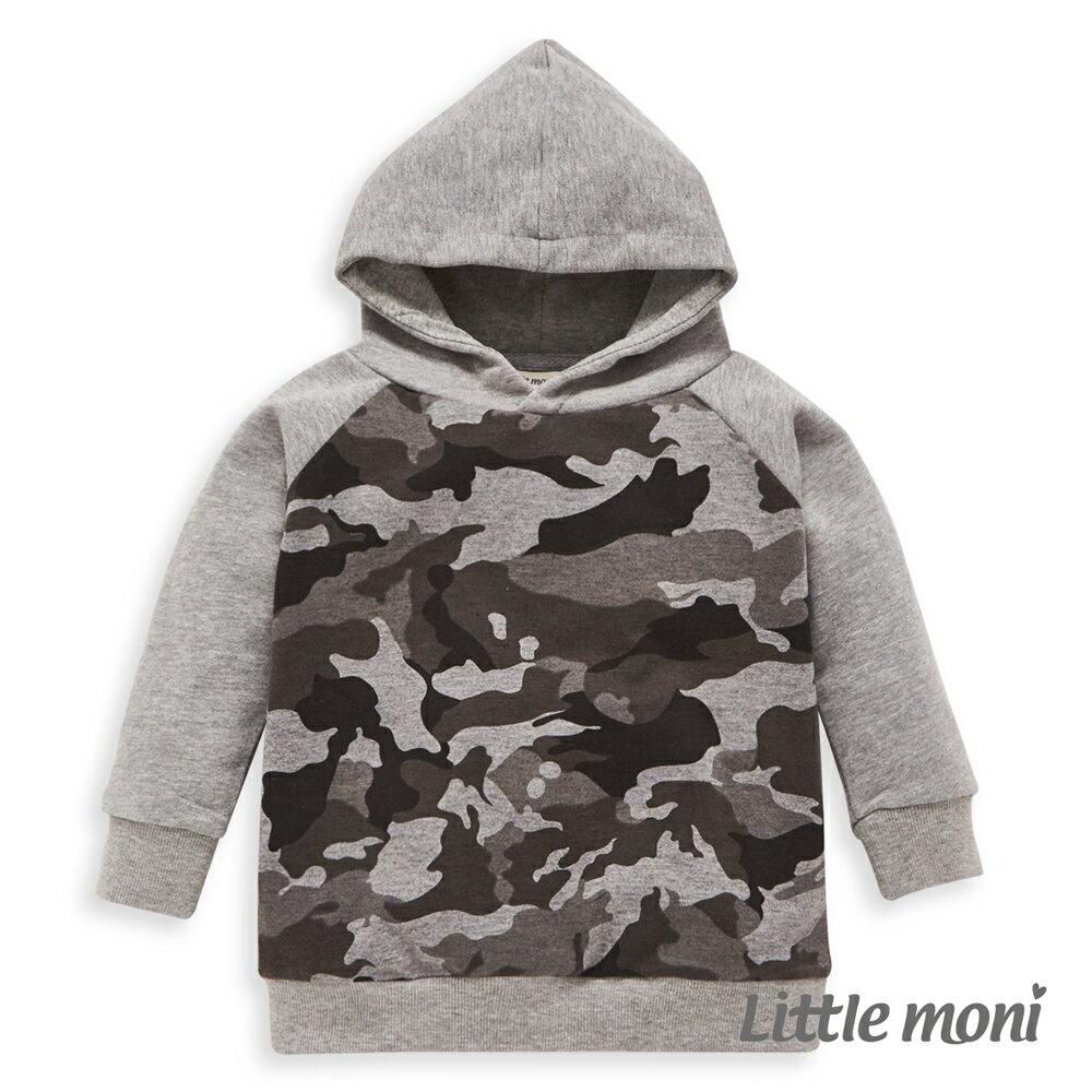 Little moni 迷彩拼接連帽上衣-灰色 - 限時優惠好康折扣