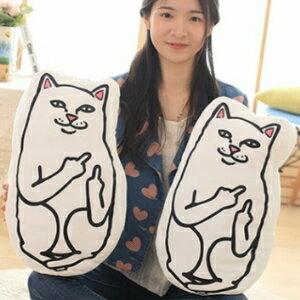 美麗大街【105122115】創意ripndip超萌小賤貓中指貓抱枕貓咪玩偶靠墊
