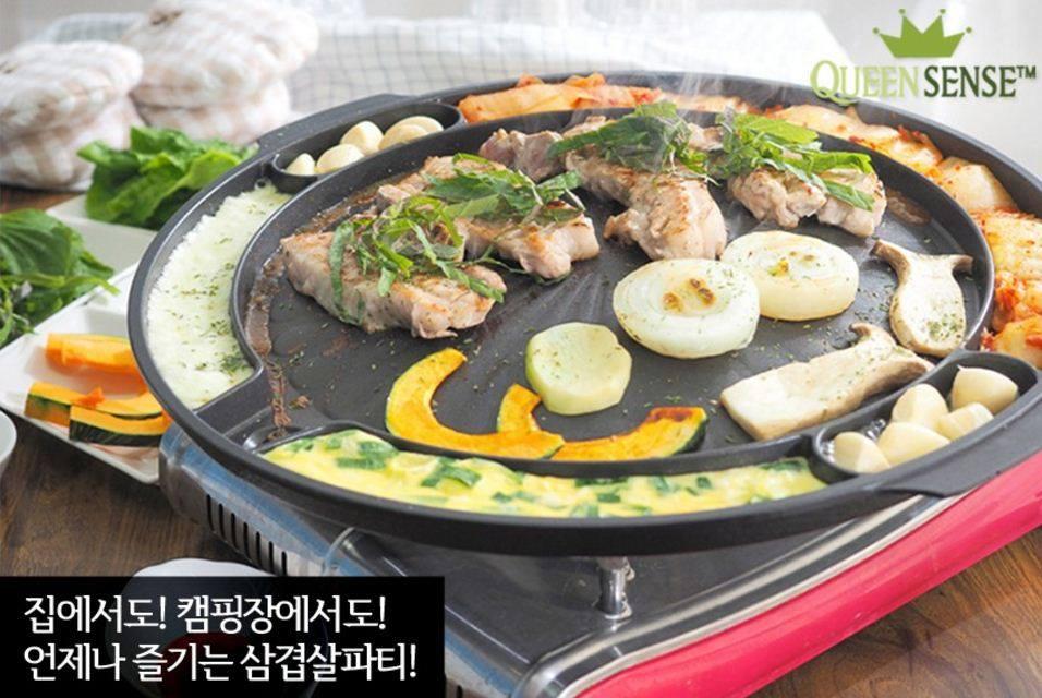 【CHIA】【正韓Queen Sense 圓形多功能(多隔間 )無油 烤盤 (滴油槽) 烤盤!! 】(預購)