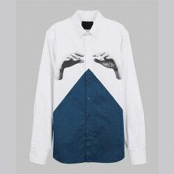 【摩達客】韓國進口EXO合作設計品牌DBSW Color Composer組色者白藍綠時尚純棉男士修身長袖襯衫