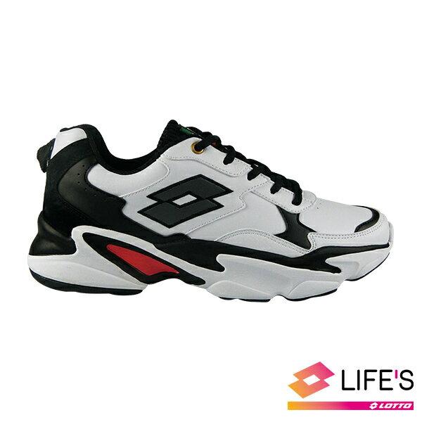 LOTTO樂得-義大利第一品牌 男款復古老爹鞋 [0568] 白黑【巷子屋】