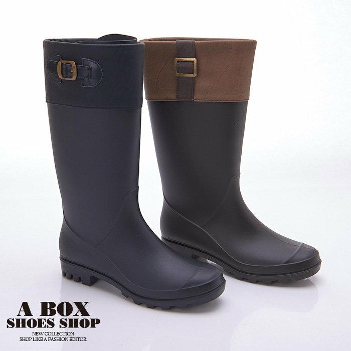 【AND3661】愛上下雨天 防水PVC 英倫風消光霧面雙色拼接金釦修身 31CM長筒雨靴 雨鞋 2色 3