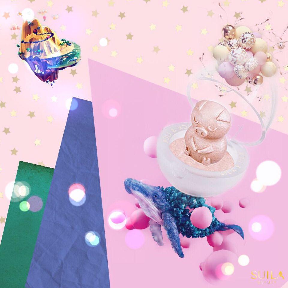 水菈 3D立體萌寵彩妝蛋#粉香檳豬★療癒系多用途彩妝★眼影腮紅提亮三合一★TICK&LICK