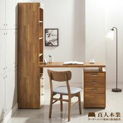 【日本直人木業】BRAC層木一個3抽書櫃搭配調整書桌