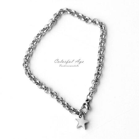 手鍊 立體迷你小星鋼製手環 柒彩年代【NA404】單條價