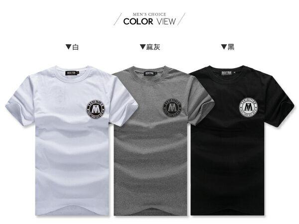 ☆BOY-2☆【ND5467】短袖T恤素面簡約質感休閒大M圓標印花短T 1