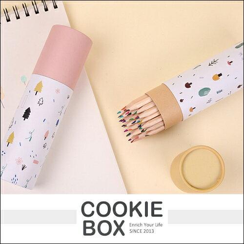 36色 插畫 桶裝 彩色 鉛筆 油性 色鉛筆 木質 插畫 風格 組合包裝 *餅乾盒子*