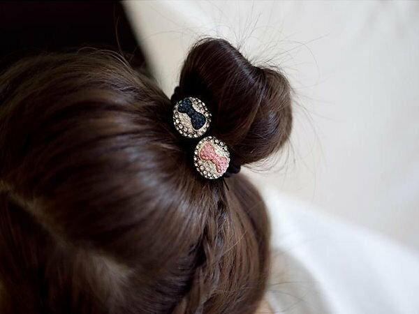 蝴蝶結水鑽彈性髮束髮圈超商取貨貨到付款批發【櫻桃飾品】【20256】