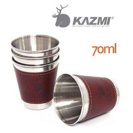 【【蘋果戶外】】KAZMI K5T3K003 仿皮革不鏽鋼杯4入組70ml/防燙皮革/啤酒杯/飲料杯/防滑//附收納袋