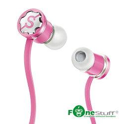 【迪特軍3C】FONESTUFF [線控耳機] 抗噪重低音耳塞式耳機-粉 手機耳機 內耳式耳機 耳道式耳機