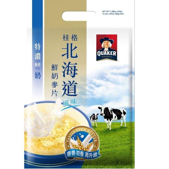 安康藥妝 桂格 北海道特濃鮮奶麥片28g*12入/ 袋