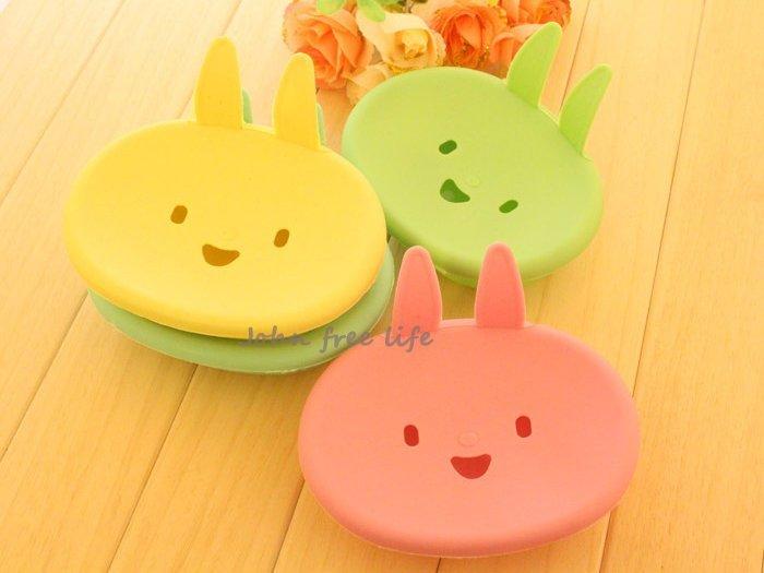 約翰家庭百貨》【BD020】小兔子肥皂盒 可愛卡通塑膠香皂盒 隨機出貨