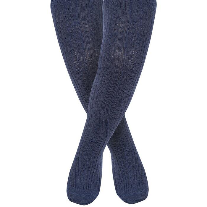 【hella 媽咪寶貝】英國 JoJo Maman BeBe 編織螺紋寶寶小童內搭褲襪/保暖襪 海軍藍(JJCable001)