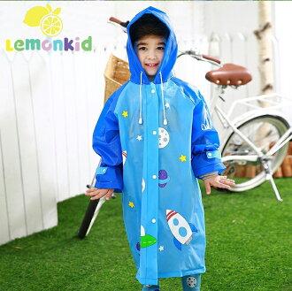 Lemonkid檸檬寶寶◆正韓蝴蝶星球造型EVA兒童雨衣-藍色太空人