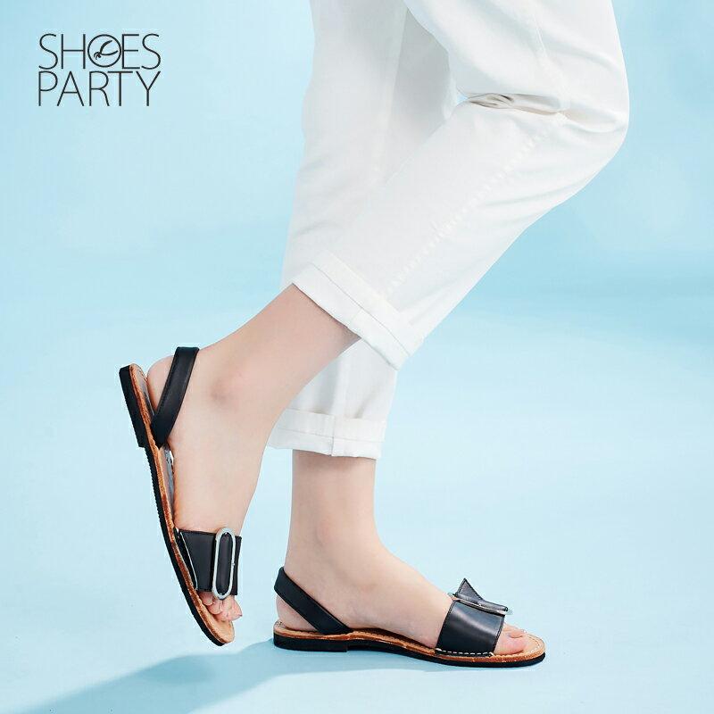 【S2-17625L】西班牙風橢圓釦皮底涼鞋_Shoes Party 1