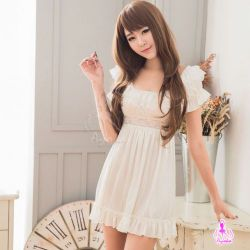 【妮薇NIVIE情趣用品】優雅甜美白色柔緞公主袖睡衣NA13020069