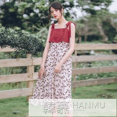 鉅惠夯貨洋裝女神范氣質吊帶裙子夏法式夏小眾赫本風碎花小清新2020新款