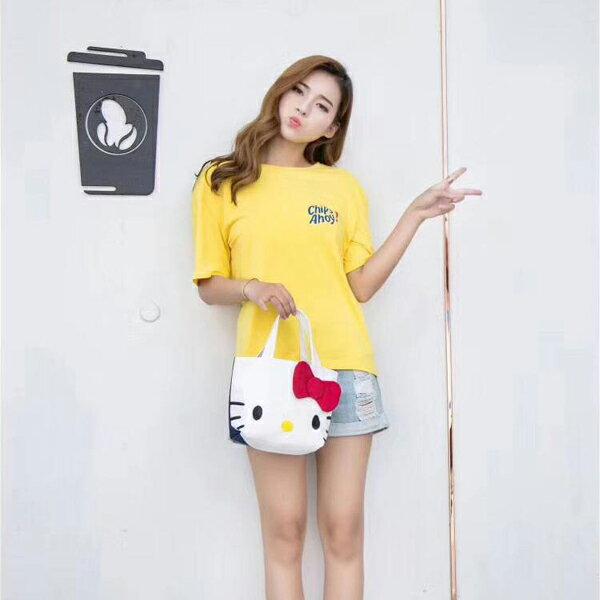 【2件組】手提包 Hello Kitty可愛蝴蝶結帆布手提袋 托特包