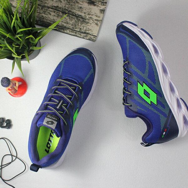 【巷子屋】義大利第一品牌-LOTTO樂得男款SPEEDRIDE超輕量風動跑鞋[6636]藍超值價$1112免運