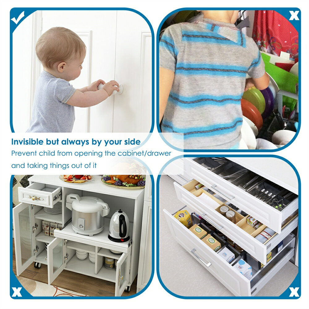Cabinet Locks Child Safety Cabinet Latches Locks, 10 Packs, Easy to Install, No Tools or Drilling Needed, Invisible Design, with Buckles and Screws - White 4