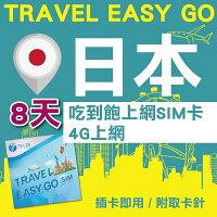日本上網推薦sim卡吃到飽/wifi機網路吃到飽,日本上網sim卡吃到飽推薦到【Travel Easy Go】日本 8日 4G上網不斷網 吃到飽上網SIM卡
