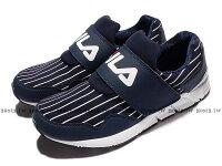 男性慢跑鞋到《限時特價1090元》Shoestw【1J312R331】FILA 慢跑鞋 深藍白 線條 襪套 黏帶 男款就在鞋殿推薦男性慢跑鞋