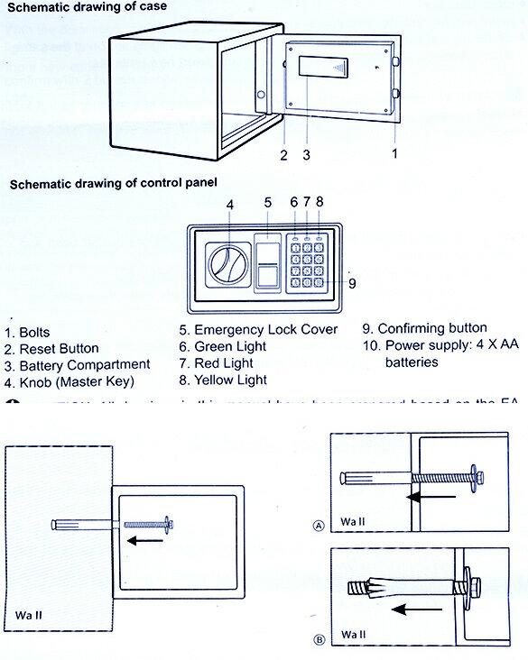 "9"" Digital Safe Box Electronic Security Wall Jewelry Cash Storage 5"