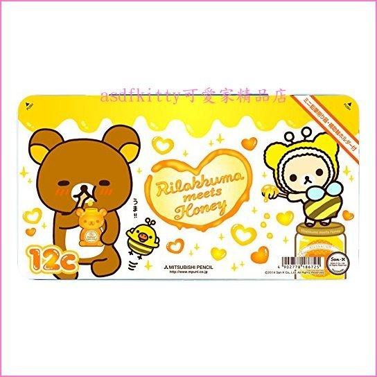 asdfkitty可愛家☆懶懶熊/拉拉熊蜜蜂色鉛筆組/彩色鉛筆組-12色-鐵盒裝-附削鉛筆器-三菱鉛筆-日本製