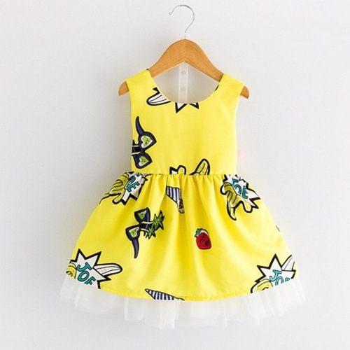 女童短袖洋裝紗紗連身裙露背小禮服寶寶童裝MS2238好娃娃