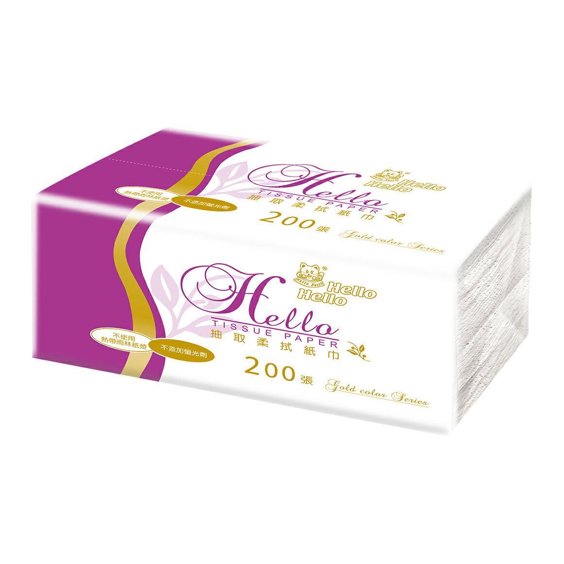 【HELLO】金彩抽取衛生紙(紫)180X190/100抽/14包/5袋/箱
