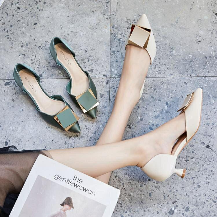 細跟單鞋女百搭淺口時尚尖頭夏天少女小清新高跟鞋