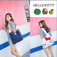 凱蒂貓週邊商品推薦到單肩包 Hello Kitty大容量立體蝴蝶結帆布包 手提包 托特包【包包阿者西】