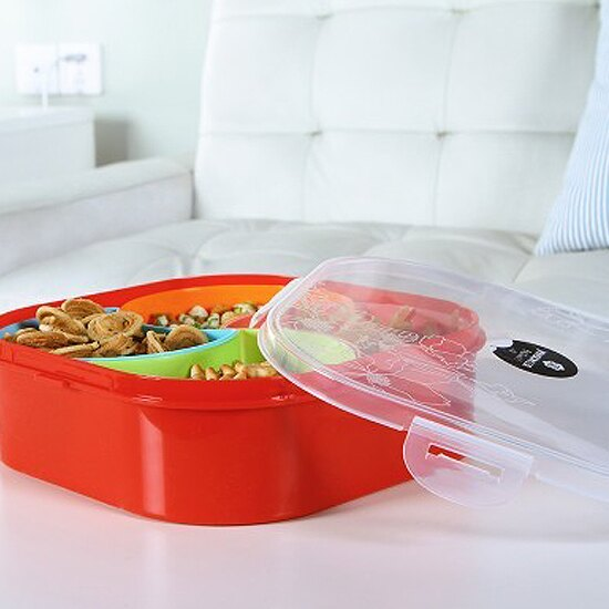 ♚MY COLOR♚密封帶蓋分割零食盒 方形  五穀 雜糧 食品 保鮮 廚房 收納 密封