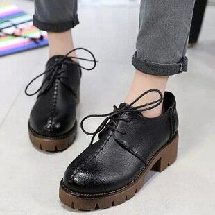 復古時尚粗跟漸層綁帶縫線工作鞋-黑/灰/棕35-39預購【a521494454901】