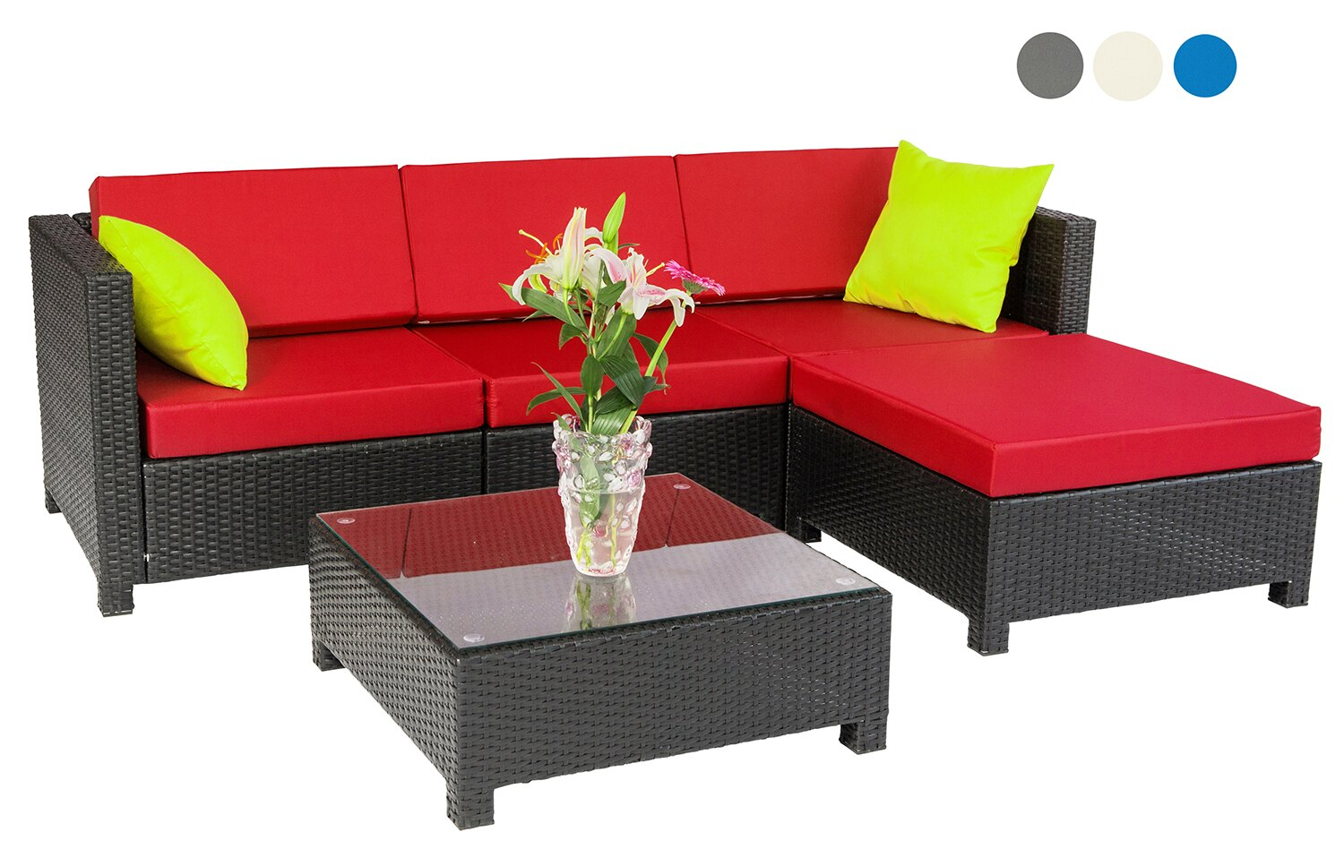 mcombo: mcombo 5pc Luxury Wicker Sectional Outdoor Sofa Aluminum Frame  Furniture 2 sets covers 6080-1005 | Rakuten.com