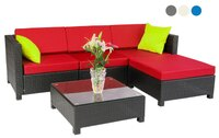 mcombo 5pc Luxury Wicker Sectional Outdoor Sofa Aluminum Frame Furniture 2 sets covers 6080-1005