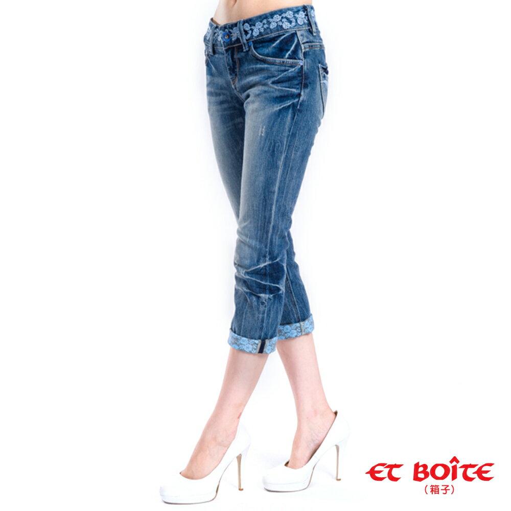 【 990元優惠↘】花朵九分直筒牛仔褲 - BLUE WAY ET BOiTE 箱子