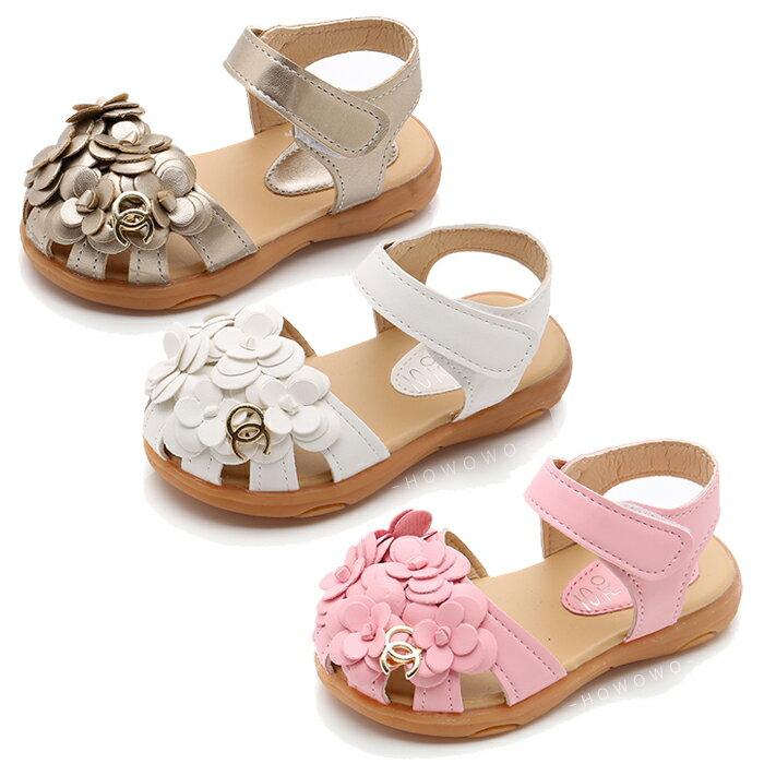 女童涼鞋 小花造型涼鞋 透氣止滑 娃娃鞋 公主鞋 休閒女童鞋 (13-15CM) KL69 好娃娃 0