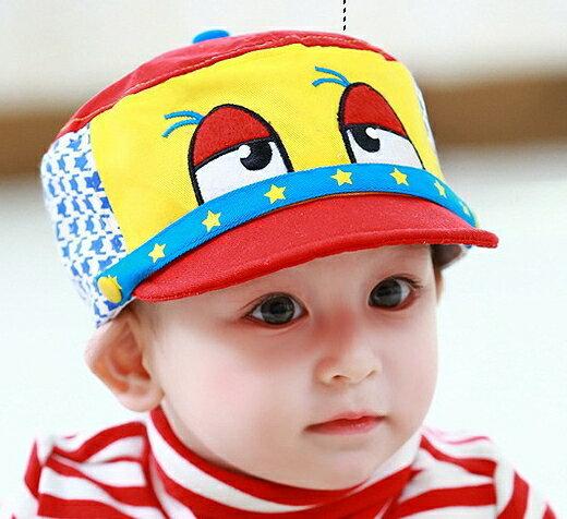 Lemonkid◆趣味俏皮卡通大眼睛星星滾邊千鳥格造型兒童帽-紅色帽檐