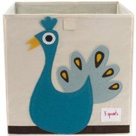 【淘氣寶寶】加拿大 3 Sprouts 收納箱-小孔雀【超大容量 收納箱,可摺疊,100%棉帆布手感柔軟耐抗污】【 貨● 】