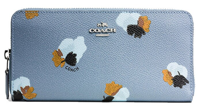 COACH長夾53794新款女士拉鍊皮夾手拿包蔻馳藍色印花