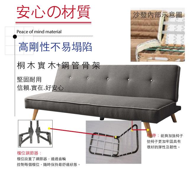 【綠家居】里斯本 現代灰亞麻布機能沙發/沙發床(展開式機能設計)