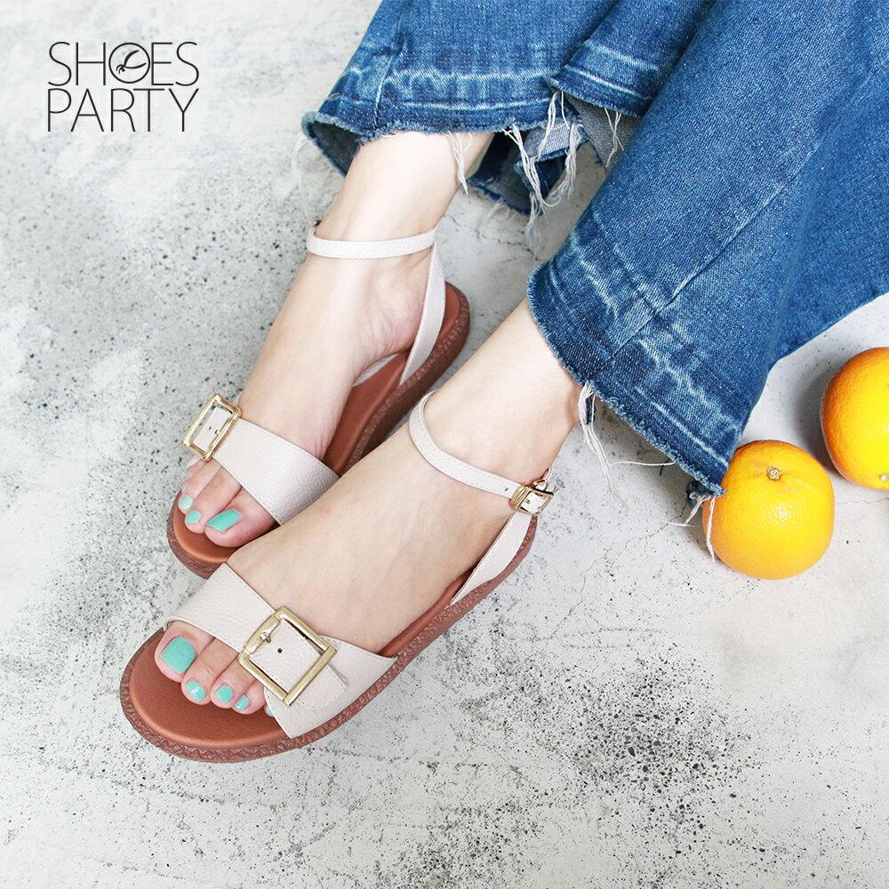 【S2-19702L】Simple+個性大飾扣漢堡底涼鞋_Shoes Party 3