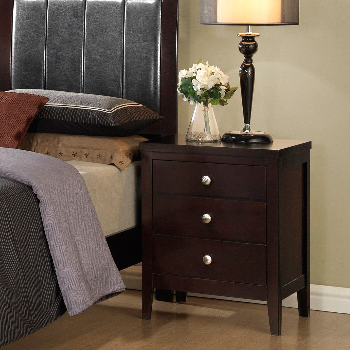 Costway 3 Drawers Nightstand End Bed Sofa Side Table Storage Bedroom Furniture New 0