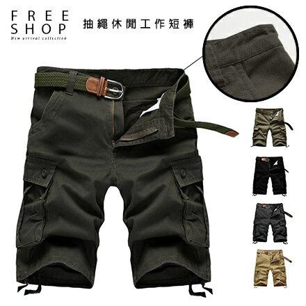《全店399免運》Free Shop 美式風格素色高磅修身版型褲管抽繩休閒工作短褲 有大尺碼【QTJJD01】