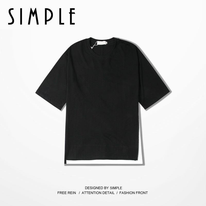 潮男 側拉鍊 下擺開叉 拼接 暗黑短袖T恤 打底TEE~E061~SIMPLE