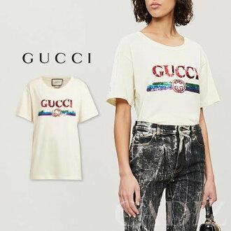 2de0f09c7ac9 義大利正品GUCCI Sequin-embellished logo cotton T-shirt 經典亮面純棉T ...